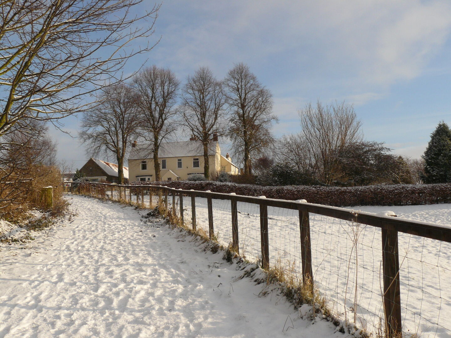 A winterly Old Durham Farm.