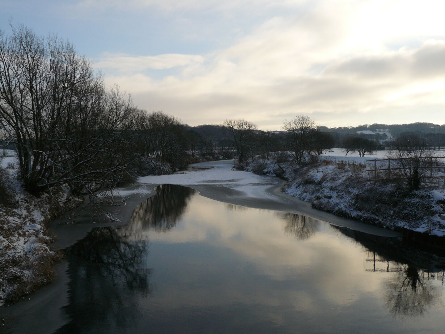 Even the River Wear is frozen,...