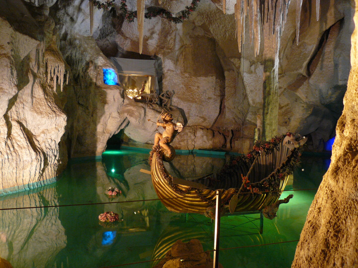 The grotto of Castle Linderhof, an artificial cave that King Ludwig had fitted with stage designs from Richard Wagner operas so he could enjoy his private performances in the appropriate atmosphere.