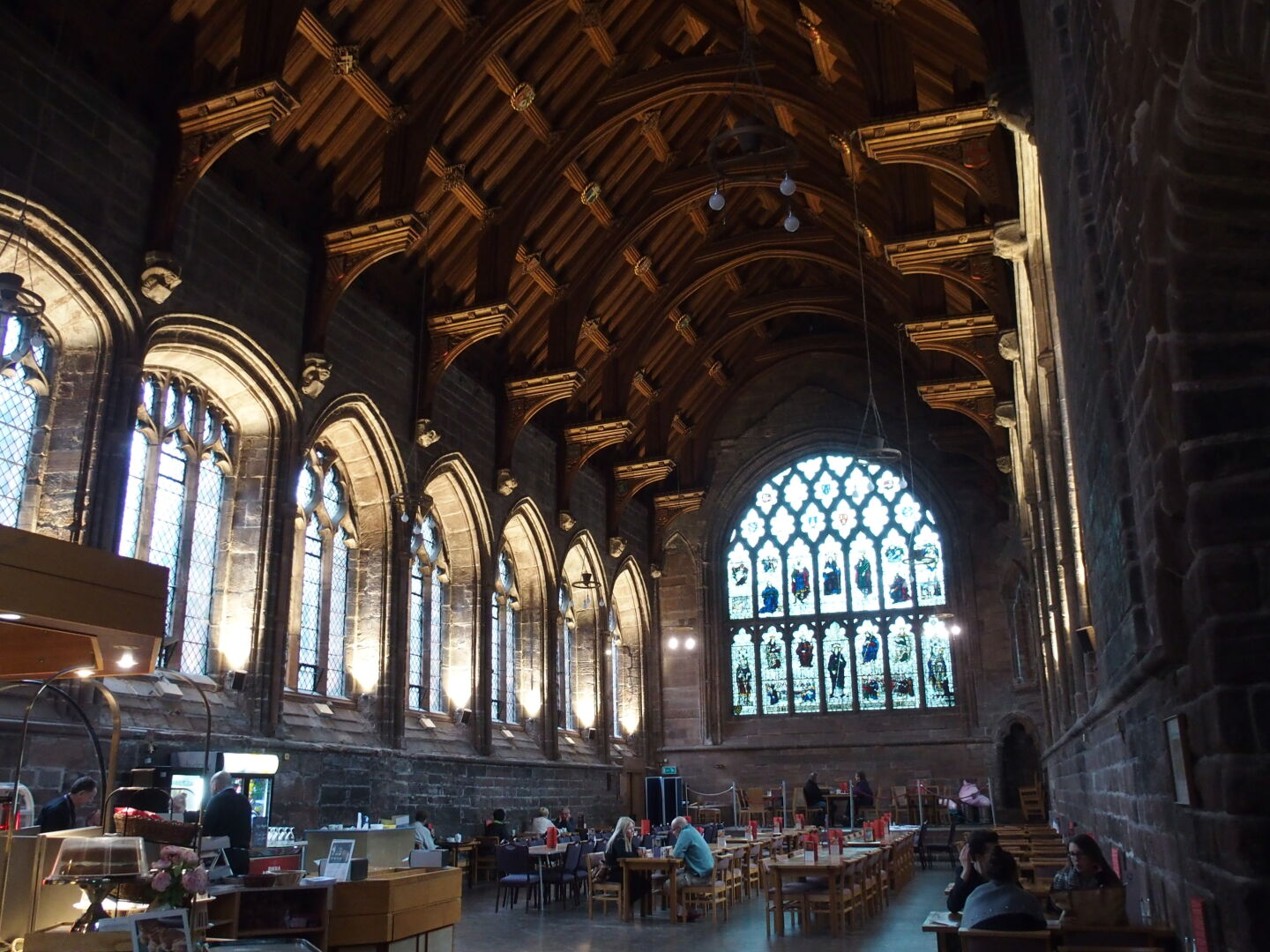 Chester Cathedral refectory; tea time for tourists.