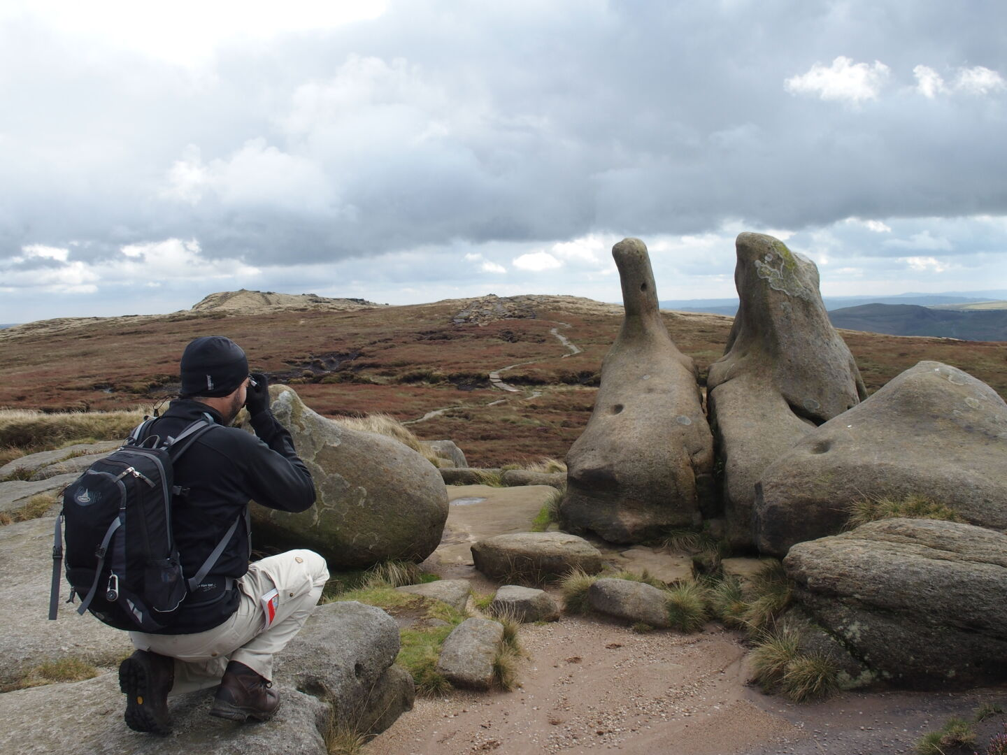 Taking pictures on Kinder Scout.