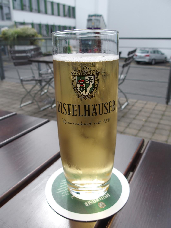 Selbstgebrautes Apfelschorle (von der Distelhäuser Brauerei in Distelhausen, nicht von mir).