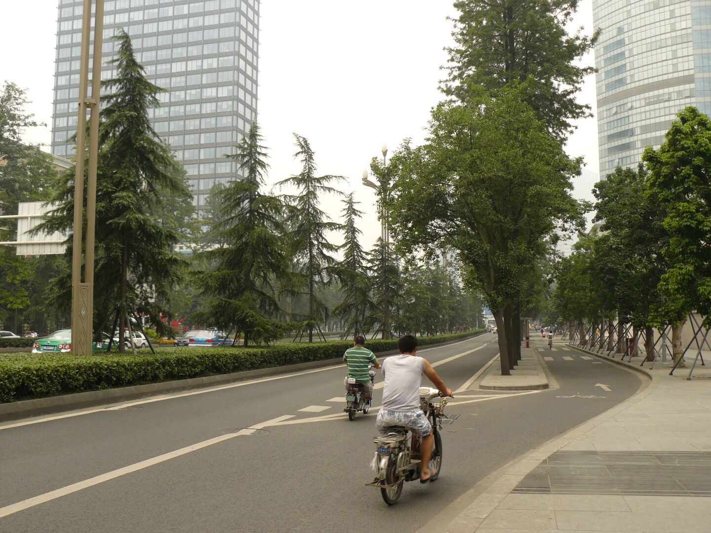 The road was split into different lanes by rows of trees. There is a lot of green throughout the city.