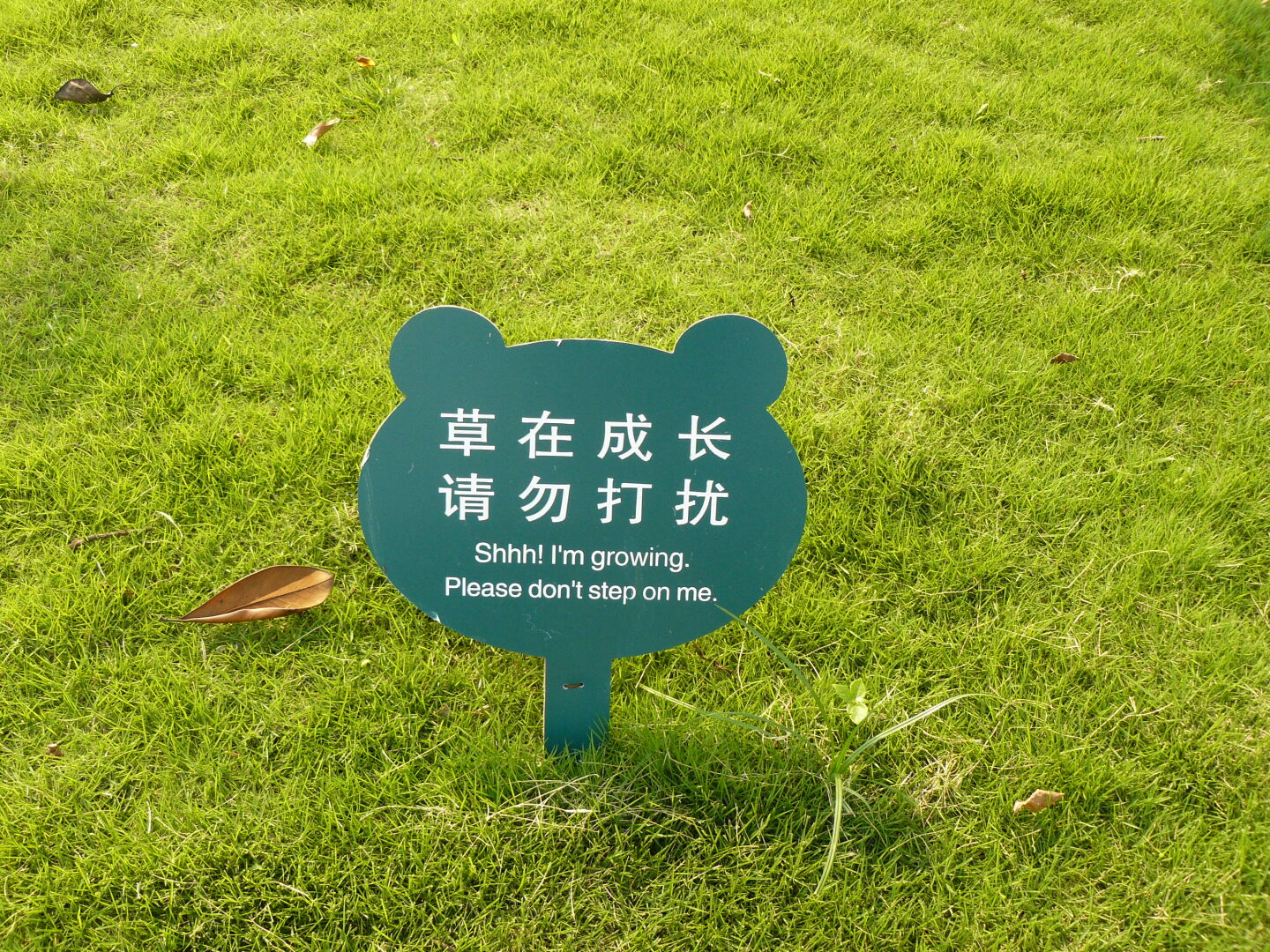 A very polite way to say 'keep off the grass'.